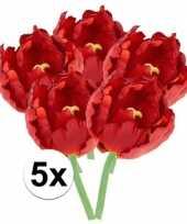 Vergelijk 5x kunstbloemen tulp rood 25 cm prijs