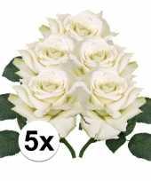 Vergelijk 5x kunstbloemen witte roos 31 cm prijs