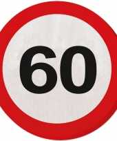 Vergelijk 60x zestig 60 jaar feest servetten verkeersbord 33 cm rond verjaardag jubileum prijs
