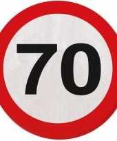 Vergelijk 60x zeventig 70 jaar feest servetten verkeersbord 33 cm rond verjaardag jubileum prijs
