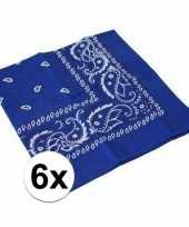 Vergelijk 6x blauwe boeren zakdoeken prijs