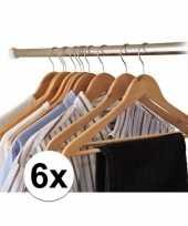 Vergelijk 6x kledinghanger hout prijs