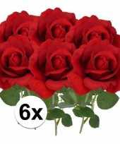 Vergelijk 6x kunstbloemen roos rood 37 cm prijs