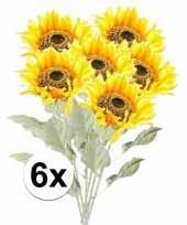 Vergelijk 6x kunstbloemen steelbloem gele zonnenbloem 82 cm prijs