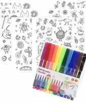 Vergelijk 6x sticker vellen om in te kleuren met 12 stiften voor kinderen prijs