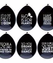Vergelijk 6x zwarte ballonnen met alcohol spreuken feestdecoratie prijs