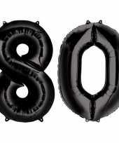 Vergelijk 80 jaar leeftijd helium folie ballonnen zwart feestversiering prijs