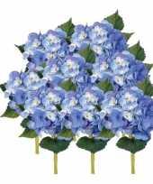 Vergelijk 8x blauwe hortensia kunstbloemen met steel 48 cm prijs