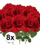Vergelijk 8x kunstbloemen roos rood 37 cm prijs