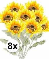 Vergelijk 8x kunstbloemen steelbloem gele zonnenbloem 82 cm prijs