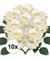 Vergelijk 8x kunstbloemen witte roos 31 cm prijs