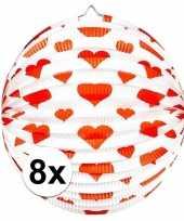 Vergelijk 8x papieren ronde lampionnen met harten print prijs