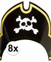 Vergelijk 8x piratenfeest verjaardags kartonnen feesthoedjes prijs