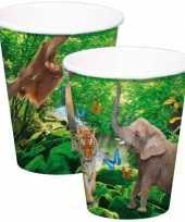 Vergelijk 8x safari jungle drinkbekertjes 8 x 13 cm prijs