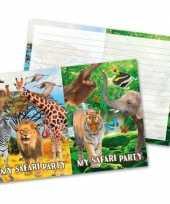 Vergelijk 8x safari jungle feest thema uitnodigingen 27 cm prijs