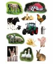 Vergelijk 9x boerderij dieren stickervellen met 13 stickers prijs