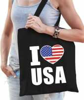 Vergelijk amerika schoudertas i love usa zwart katoen prijs