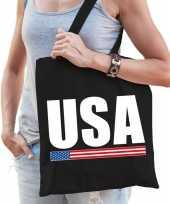 Vergelijk amerika supporter schoudertas usa zwart katoen prijs