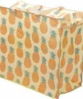 Vergelijk ananassen print opbergzak 55 x 48 cm speelgoed knuffels opbergen prijs