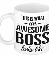 Vergelijk awesome boss cadeau mok beker voor werkgever 300 ml prijs