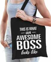 Vergelijk awesome boss cadeau tas zwart katoen prijs