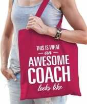 Vergelijk awesome coach bedank cadeau tas roze katoen prijs