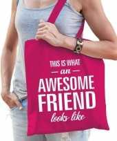Vergelijk awesome friend cadeau tas roze katoen prijs