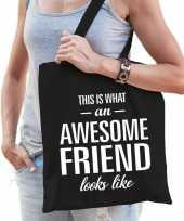 Vergelijk awesome friend cadeau tas zwart katoen prijs