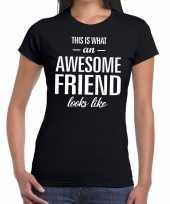 Vergelijk awesome friend kado t-shirt zwart voor dames prijs
