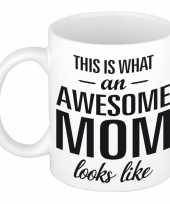 Vergelijk awesome mom cadeau mok beker voor moederdag 300 ml prijs