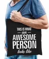 Vergelijk awesome person cadeau tas zwart katoen prijs