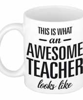 Vergelijk awesome teacher cadeau mok beker voor leraar 300 ml prijs