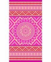 Vergelijk badlaken met roze oranje mandala print mancora voor kinderen 86 x 160 prijs