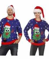 Vergelijk blauwe kerst sweater met kerstboom voor volwassenen prijs