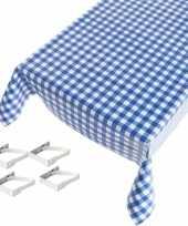 Vergelijk blauwe tafelkleden tafelzeilen ruiten print 140 x 170 cm rechthoekig met 4x tafelkleedklem
