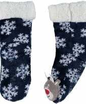 Vergelijk blauwe warm gevoerde rendier kerstsokken voor kinderen prijs