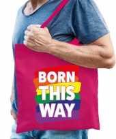 Vergelijk born this way gaypride tas roze katoen prijs