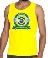 Vergelijk brazil drinking team tanktop mouwloos shirt geel heren prijs