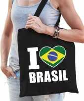 Vergelijk brazilie schoudertas i love brasil zwart katoen prijs