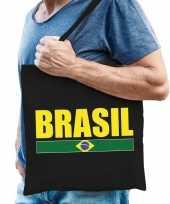 Vergelijk brazilie supporter schoudertas brasil zwart katoen prijs