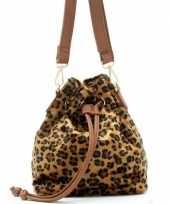 Vergelijk bruine zwarte luipaardprint schoudertas cross body tas bucket bag 30 cm nel tijgervel prij