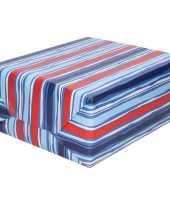 Vergelijk cadeaupapier blauw rood gestreept 70 x 200 cm prijs
