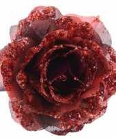 Vergelijk decoratie kunstroos rood op clip 14 cm prijs