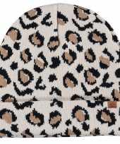 Vergelijk dubbel laagse gebreide muts voor kinderen met luipaard print beige prijs