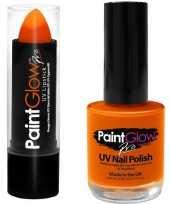 Vergelijk fel neon oranje holland lippenstift lipstick en nagellak uv glow in the dark prijs