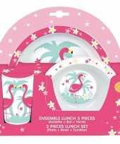 Vergelijk flamingos kunststof serviesset 3 delig bord diep bord beker voor kinderen prijs