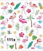 Vergelijk gekleurde flamingo stickers 111 stuks prijs
