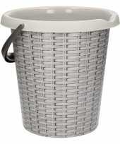 Vergelijk grijze schoonmaakemmer met rotanprint 12 liter prijs