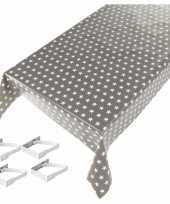 Vergelijk grijze tafelkleden tafelzeilen sterren print 140 x 240 cm rechthoekig met 4x tafelkleedkle
