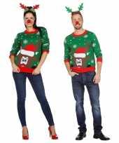 Vergelijk groene kerst sweater met rendier voor volwassenen prijs